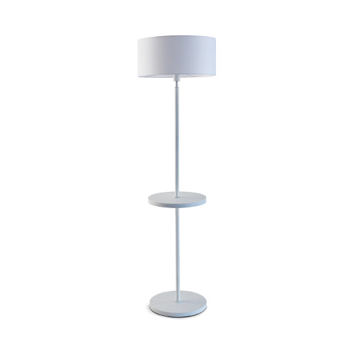 Lampe lampadaire décoration design contemporain métal blanc tablette
