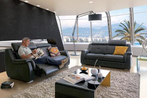 Jaguar relaxation lectrique canap cuir et t ti res for Canape home salon